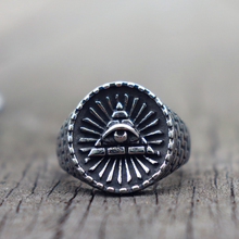 316L Titanium Stainless Steel Ring Eye of Providence Masonic Rings for Men Jewelry