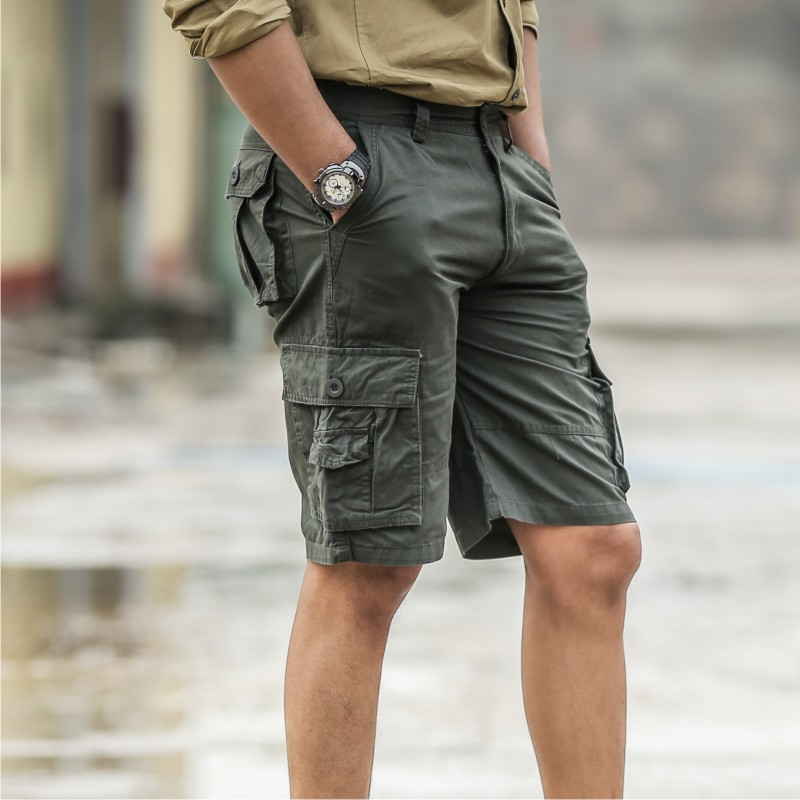 Military Tactical Cargo Shorts Men Army SWAT Combat Shorts Casual Cotton Shorts Multi-po ...