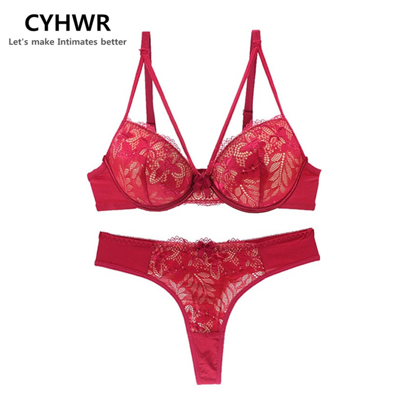 CYHWR sexy ultra-thin push up floral lace female lingerie thong bow for women underwear   bra     sets