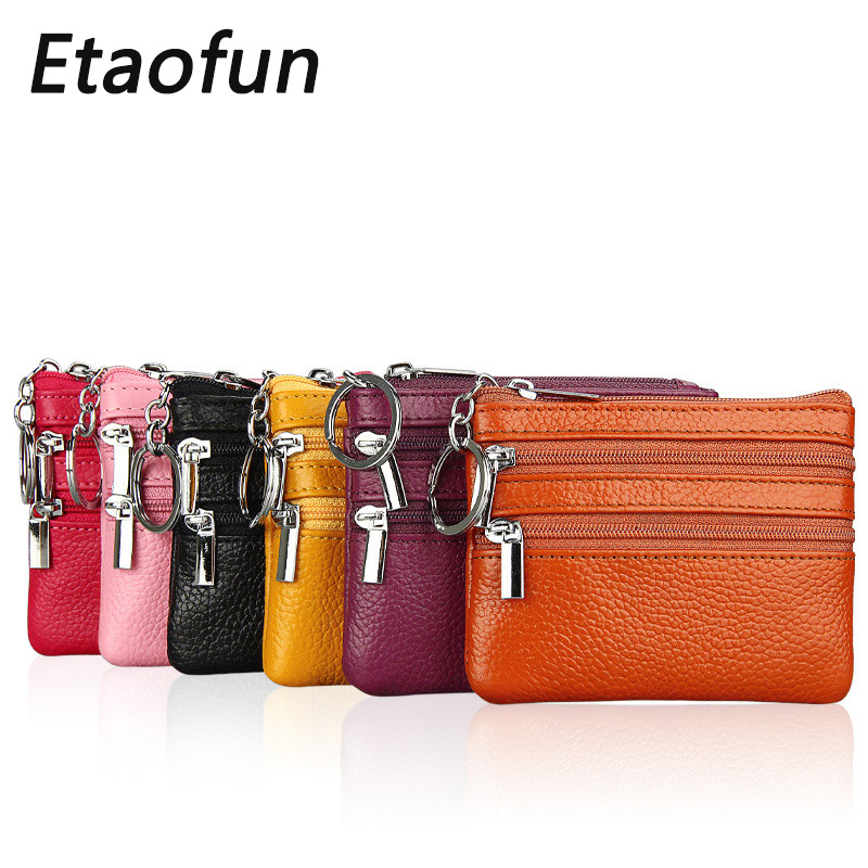 Etaofun brand womens clutch wallets original genuine leather small purse for credit cards with keys holder housekeeper bag case