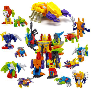 5in1 Deformation Toy Assembled 6in1 Transformation Robots Dinozords Dinosaur Rangers Children Action Figures Toy image