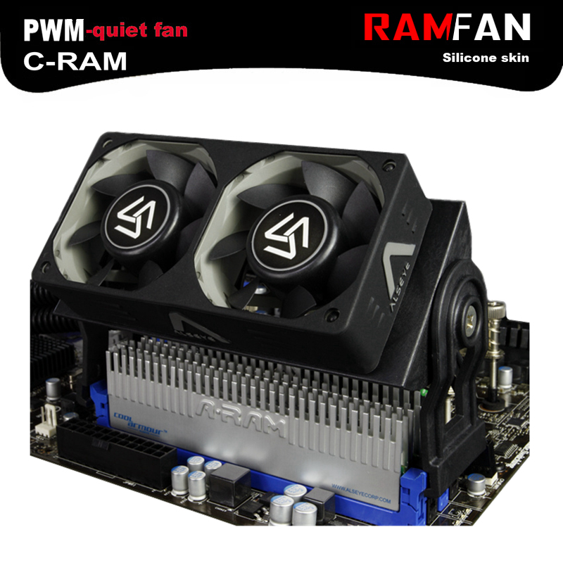 ALSEYE RAM Cooler cooling fan for computer DDR memory cooler with dual 60mm fan PWM 1500-4000RPM cooler for DDR2/3/4 cooling computer cooler radiator with heatsink heatpipe cooling fan for hd6970 hd6950 grahics card vga cooler