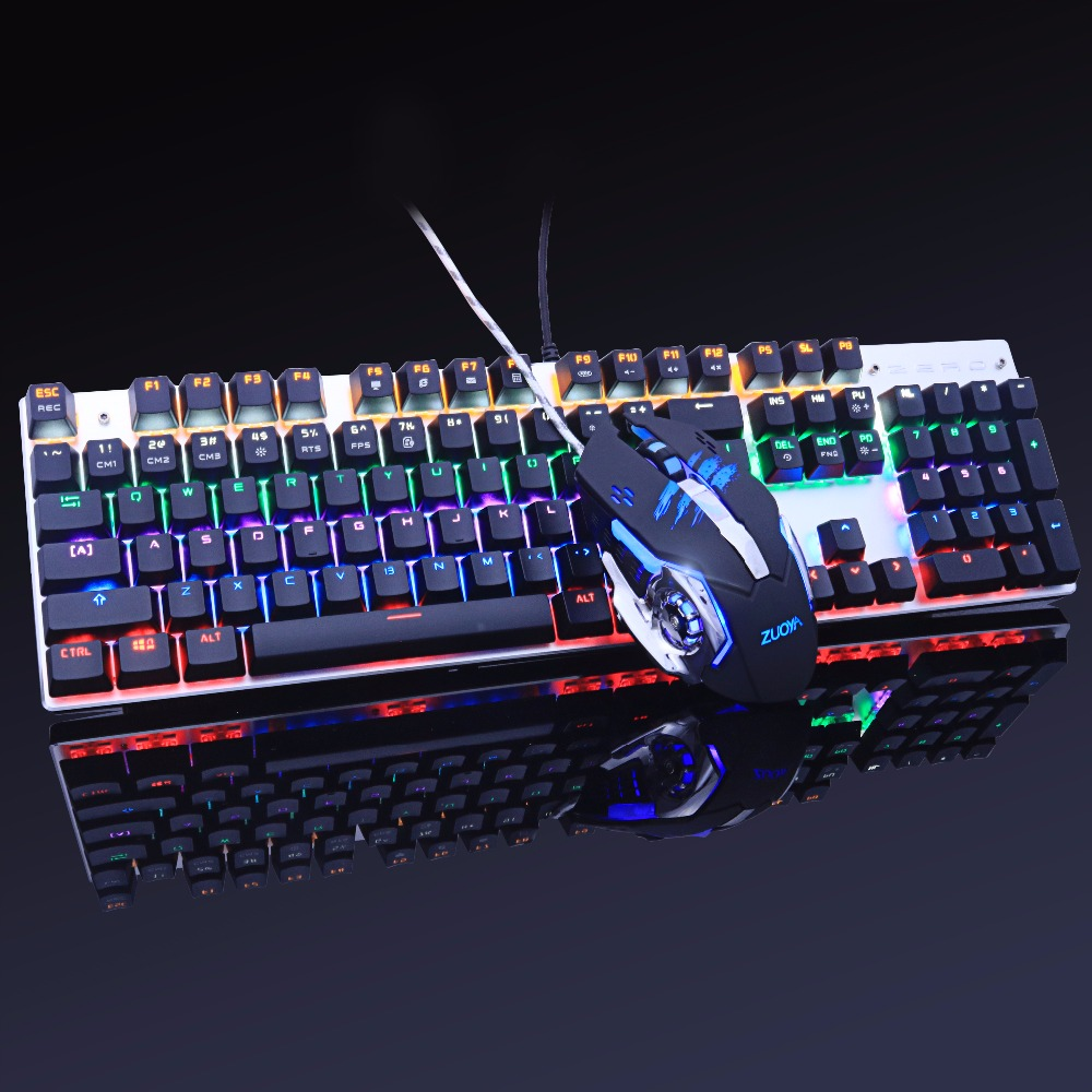 gaming mechanical keyboard Anti-ghosting mouse combo Backlit LED+USB wired gaming mouse metal 3200DPI Russian stickers dare u wcg armor soldier 6400dpi 7 programmable buttons metab usb wired mechanical gaming mouse