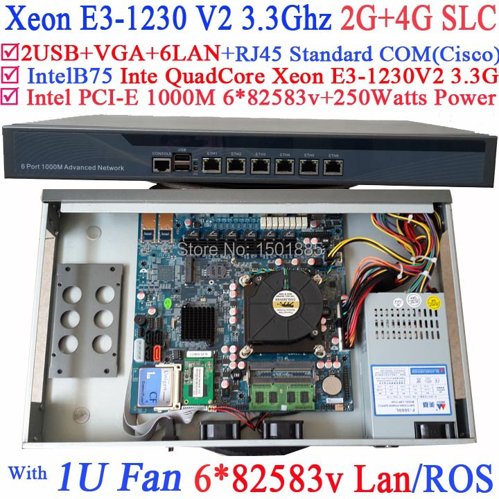 Cheap router firewall pc with 6 lan ports Inte Quad Core Xeon <font><b>E3</b></font>-<font><b>1230</b></font> <font><b>V2</b></font> 3.3Ghz no graphic 2G RAM 4G SLC image