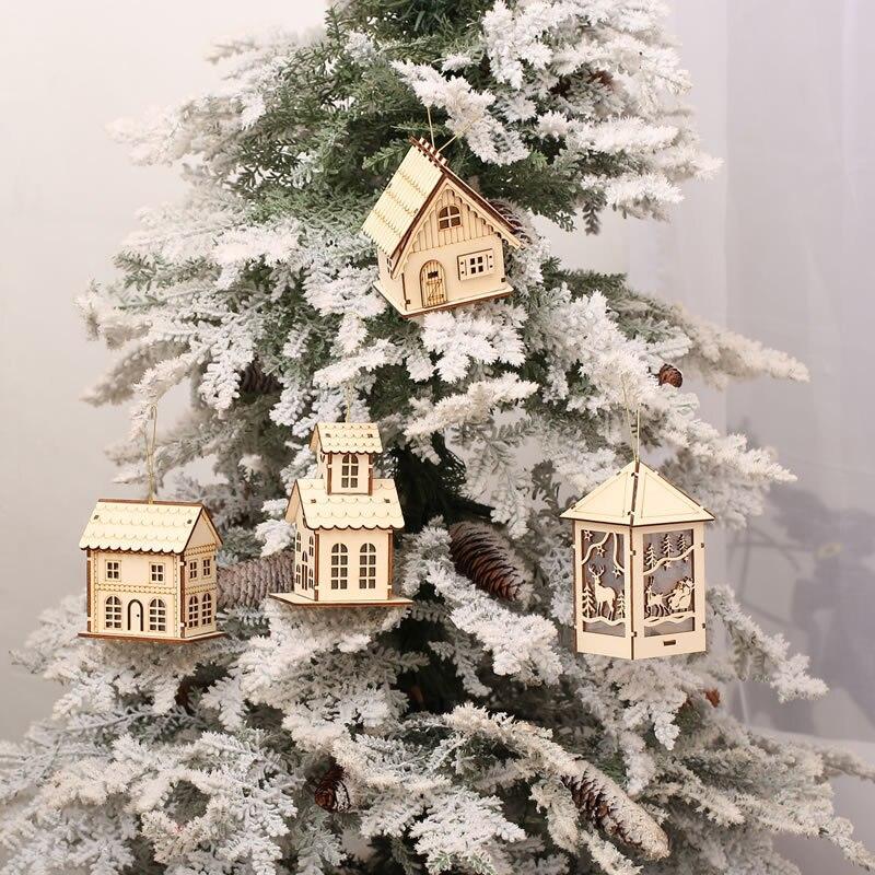 Милые деревянный дом Рождество Аксессуары световой кабины креативный подарок стол Декор  ...
