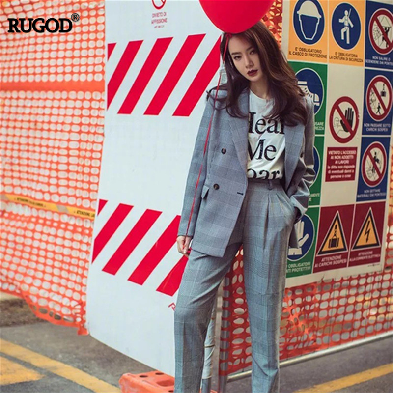 RUGOD Fashion England Style Plaid Suits 2019 Hot Sale Summer Autumn OL Women Suits Office Sets Double Breasted Blazer Set