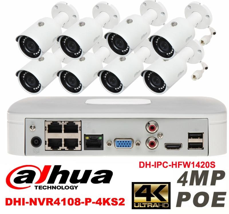 Dahua original 8CH 4MP H2.64 DH-IPC-HFW1420S 8pcs bullet  Waterproof camera POE DAHUA DHI-NVR4108-P-4KS2 IP security camera kit видеокамера ip dahua dh ipc hdbw2220rp zs 2 7 12мм 1 2 8 1984x1225