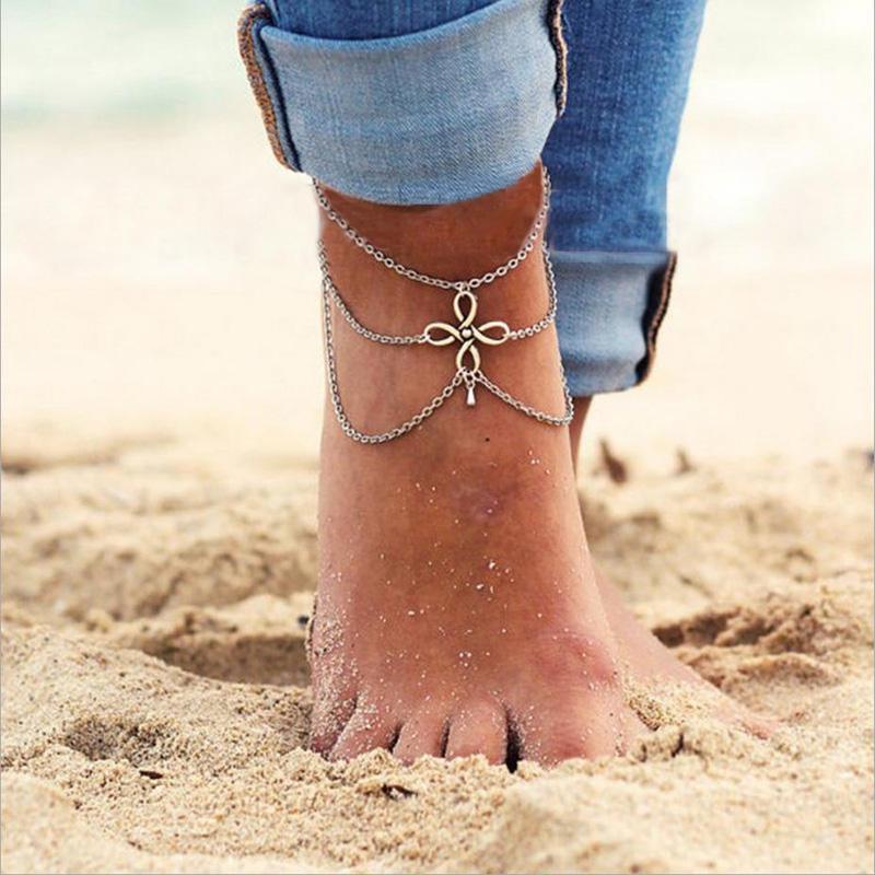 Casual Vintage Chinese Knot Ankle Bracelet Bohemian Tassel Multi layers Water Drop Barefoot Sandals Foot Jewelry