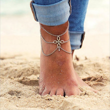 Casual Vintage Chinese Knot Ankle Bracelet  Bohemian Tassel Multi-layers Water Drop Barefoot Sandals Foot Jewelry