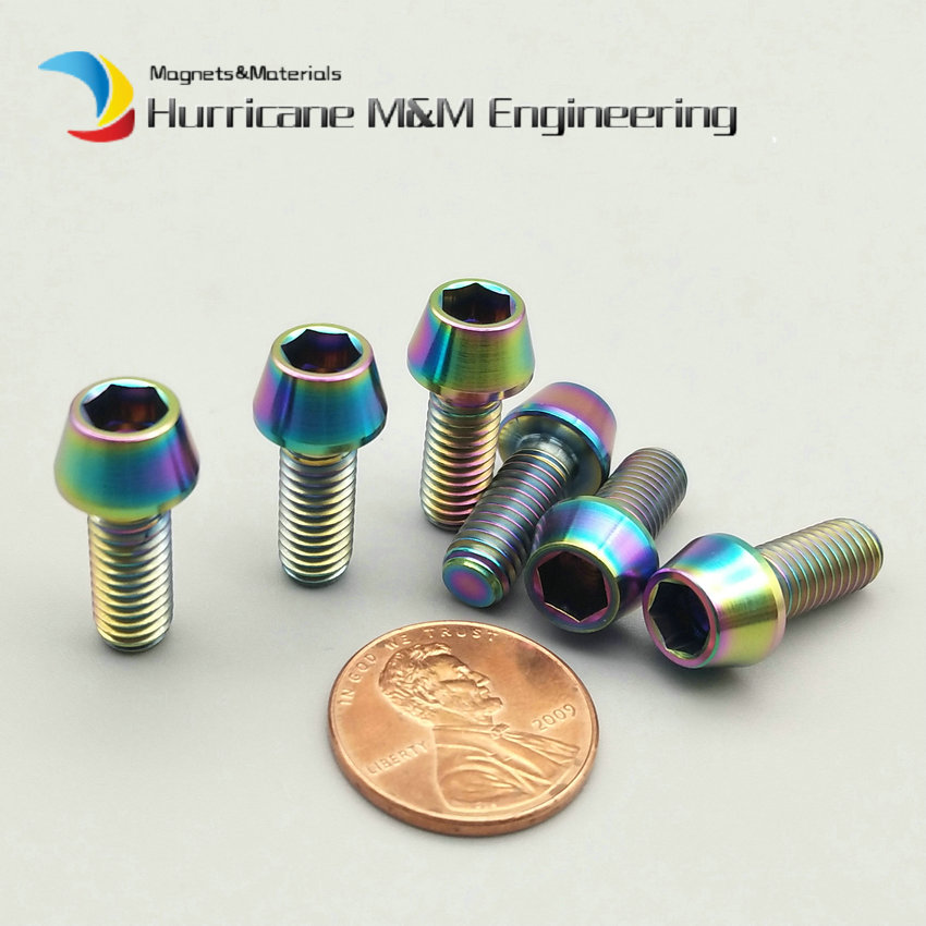 1Pack Ti Bolt M6 x15mm Titanium Bolts Bicycle Folder fixed Ti Gold Multicolor Cone Head Hexagon Socket Ti Screws Ti Fastener ti 1000