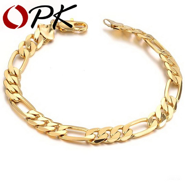 OPK JEWELRY Aliexpress Hot Sell Classic Vintage Gold Color Figaro chain bracelet Attractive Men Jewelry, 157