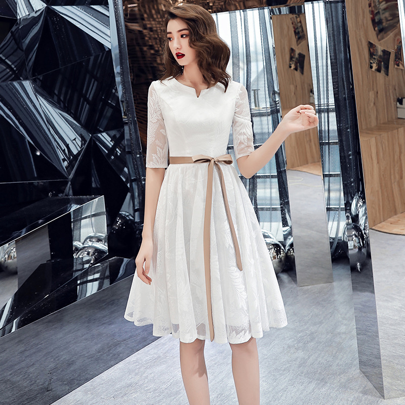 White Short Evening Dress 2019 Summer A Line Formal Dresses O-Neck Robe Soiree Sexy Party Gown 1/2 Sleeve Vestido De Festa
