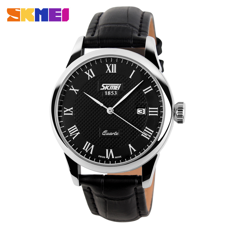 SKMEI Genuine Leather Strap Men Fashion Clock Mens Casual Quartz Watches Reloj Para Hombre Military Army Waterproof Wrist Watch jedir reloj hombre army quartz watch men brand luxury black leather mens watches fashion casual sport male clock men wristwatch