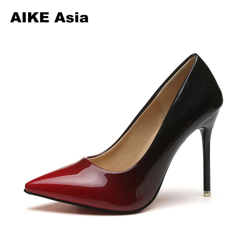 e0a5a4c01 Plus Size 34-44 Hot Women Shoes Pointed Toe Pumps Patent Leather Dress High  Heels Boat Wedding Zapatos Mujer Blue Wine Red