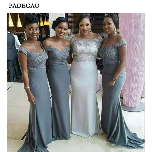 219 Sexy Dark Grey   Bridesmaids     Dresses   Mermaid Off Shoulder Sweep Train   Bridesmaids     Dresses   Prom wedding Party Custom Made