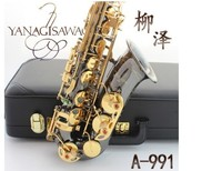 New YANAGISAWA Japan Model A 991 Eb Alto Saxophone instrument drop / wind / tube black nickel gold Sax Free shipping