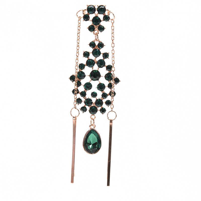 Horquilla de pelo de imitación de diamante verde, pinza India Estilo Princesa para la frente, horquilla clásica de cadena, accesorios étnicos de moda