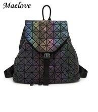 Maelove световой рюкзак 2017 горячие женщины рюкзак голограммы бренда знаменитый логотип серебристые сумка студента школьная сумка Бесплатная доставка