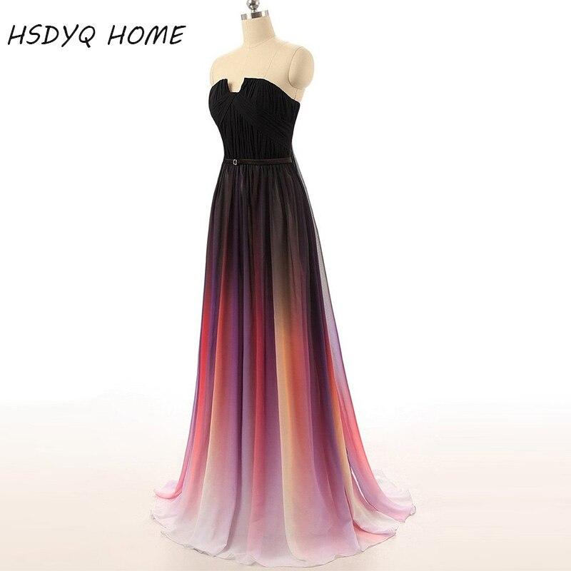2016 offre spéciale a-ligne Sexy robes en mousseline de soie robe de bal robe de soirée sans bretelles avec plis femmes nouvelle dégradé robe colorée