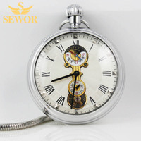 2017 SEWOR Top Brand Simple Fashion Moon Phase Small Second Hand Display Mechanical Pocket Watch C228