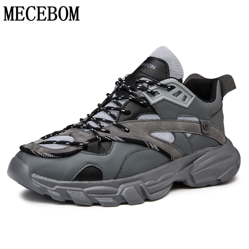 Men Chunky Sneakers Fashion Cool Gray Thick Sole Dad Shoes For Male Lace-up Patchwork Handsome Men Casual Shoes 230m
