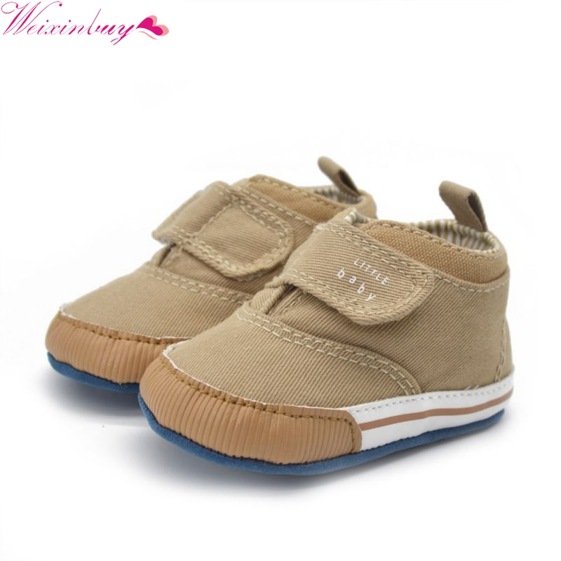 Newborn Baby Kid Boy Crib Shoes Anti-Slip Toddler Ankle Boots Canvas Prewalker First Walkers 0-18M