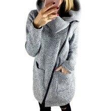 2016 winter jacket coat women Inclined Zipper long jacket ladies lapels solid color long sleeve slim