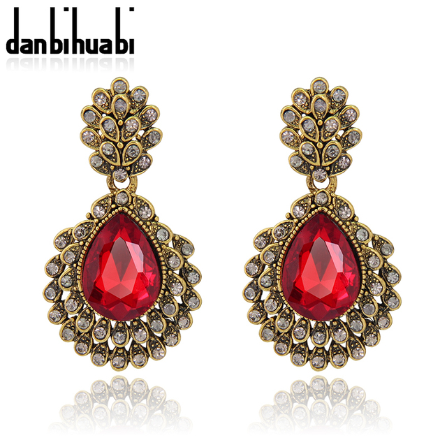 Fashion Jewelry Ethnic Vintage Antique Gold Color Earrings Cuffs Long Red Water Drop For