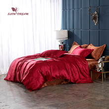 SlowDream Luxury Bedding Set Red Bedspread Coffee Bed Linens Flat Sheet Pillowcase Family Suite Adult Double Duvet Cover