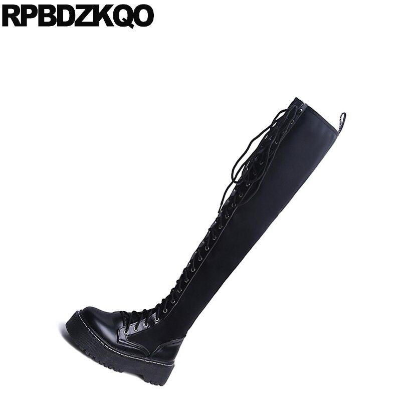 Noir Nouveau Mince Cuisse Genou Daim Long Lutter Dentelle Femmes Plat Up Le Militaire forme De Contre Plate Haute Mode Bottes Chaussures Stretch En Sur La 2017 T40Od6q0