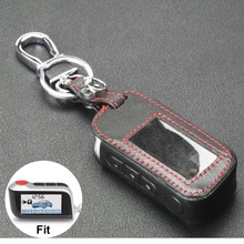 New A93 Leather Case For Starline A93 A63 Car alarm Remote Controller LCD Keychain Cover keychain starline a93 remote controller silicone case for two way car alarm starline a93 free shipping
