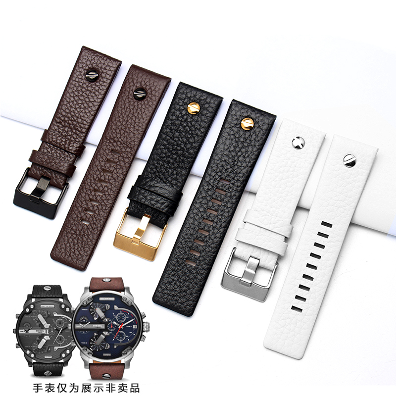 Fashion Leather Watchband with Rivet Watch Strap Wristband Belt Bracelet for Diesel Watch DZ7313 DZ7322 DZ7257 Replacement durable 20 24 26 27 28 mm soft watch bands for diesel watch dz7313 dz7322 dz7257 women s men s watch straps with sliver buckle