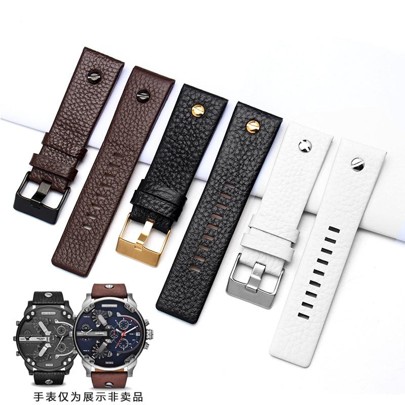 New Fashion Leather Watchband with Rivet Watch Strap Belt Bracelet for Diesel Watch DZ7313 DZ7333 7322 7257 4318 7348Replacement new design watchband 20 24 26 27 mm for diesel watch dz7313 dz7322 dz7257 men s women s watchbands with sliver buckle