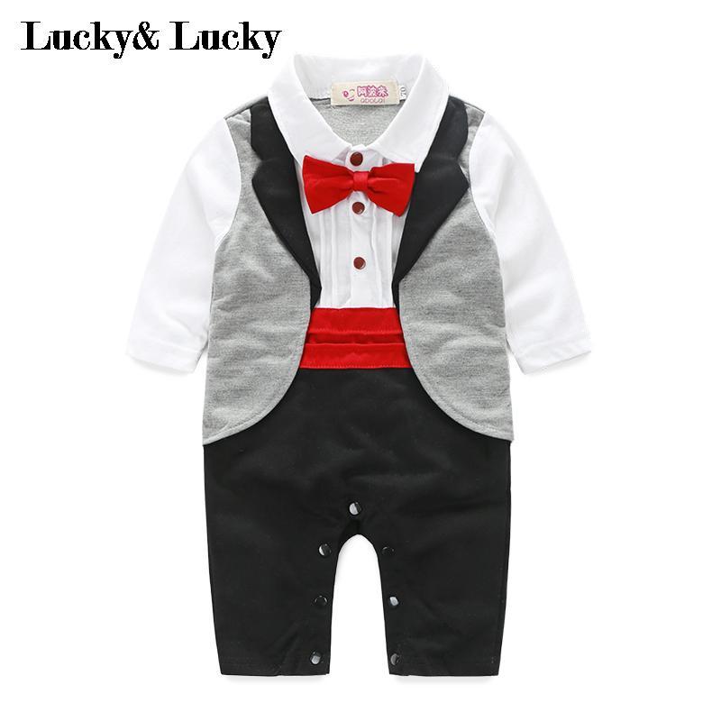 newborn jumpsuit genlteman baby clothes with tie wedding