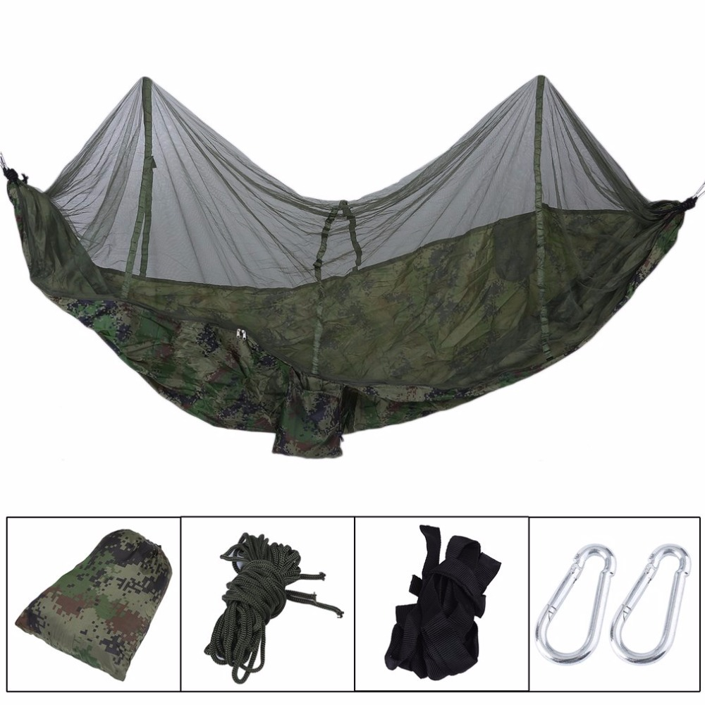 Bedding Smart Portable Hammock Outdoor Camping Hunting Mosquito Net Parachute Nylon Hammock Hanging Bed Leisure Swing Sleeping Bed Attractive And Durable Bedding Sets