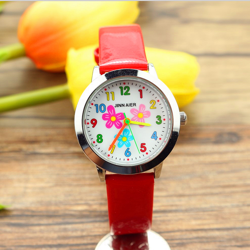 Free Shipping Little Boys And Girls Lovely Flower Dial Jelly Leather Watch Kids Learn To Time Colorful No. Gift El Reloj Clock