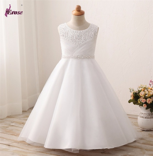 806ca760f Castle Fairy Girls' First Communion Organza Sequin Pearls Flower Girl Dress  with Train ZCF020