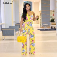 Hot Sale 2019 Flower Halter Women Jumpsuit Sexy Bodysuit Boho Print V Neek Backless Summmer Style