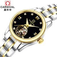 יוקרה מותג קרנבל נשים שעונים גבירותיי אוטומטי מכאני שעון נשים ספיר עמיד למים relogio feminino שעון C8789L-3