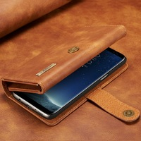 YISHANGOU Luxury Retro Genuine Leather Flip Wallet Phone Cases For Samsung Galaxy S7 Edge S8 Plus
