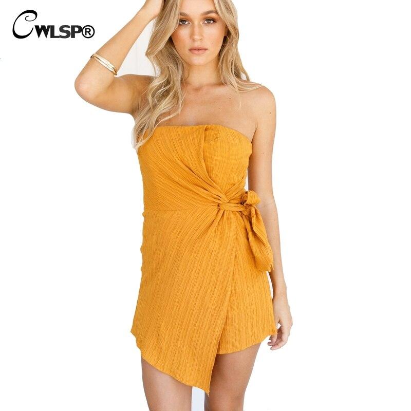 CWLSP Asymmetry Lace up Slash neck Women Jumpsuit Yellow Playsuits Summer Sexy Beach Short Jumpsuits body feminino QL3768