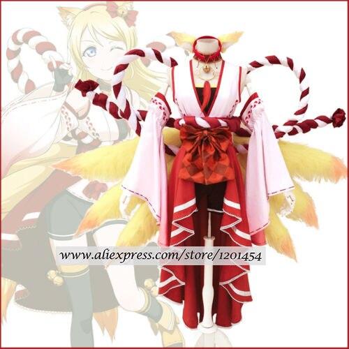 Lovelive Eli Ayase Ellie Inari Okami Fairy Fox Kimono Cosplay Costume With Ears