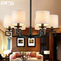 China Fabric Shade Iron Chandelier Lighting Fixtures luminaria lustre Ceiling Chandeliers E14 Light for Bedroom living room Lamp