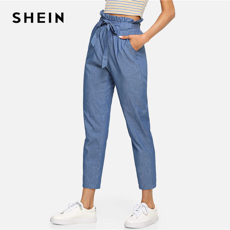 51054afde9 ... SHEIN Blue Weekend Casual Belted Ruffle Mid Waist Straight Leg Solid  Pants Summer Women Going Out ...