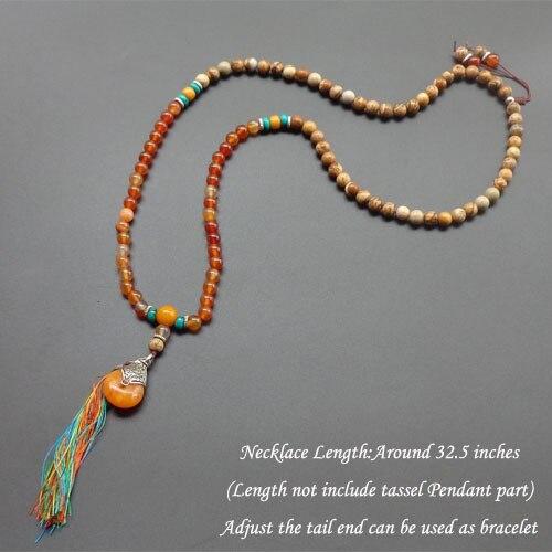 8mm naturstein perlen mit quaste halskette mala perlenkette yoga schmuck lange halskette