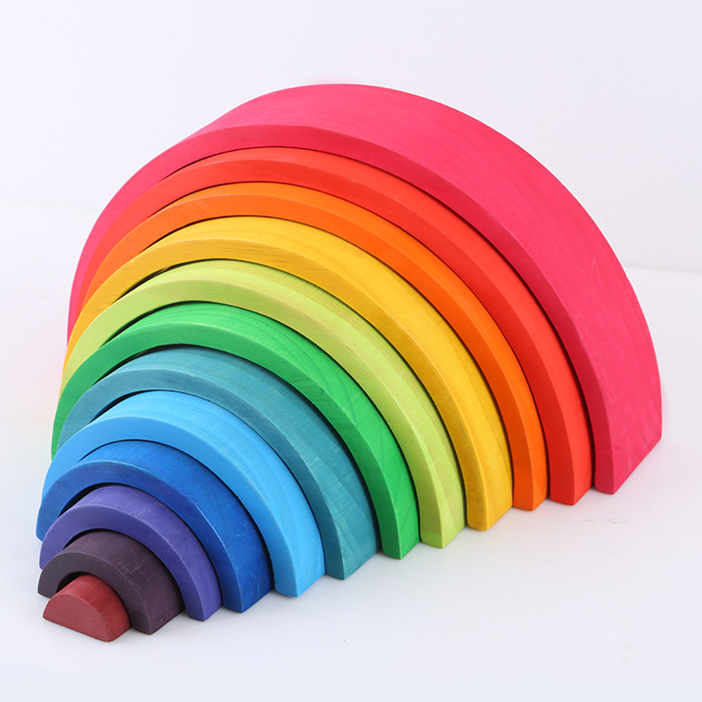 12 Pcs/Lot Baby Toys Rainbow Blocks Wooden Rainbow Stacker Nesting Puzzle Creative Montessori Building Blocks Educational Toys(China)