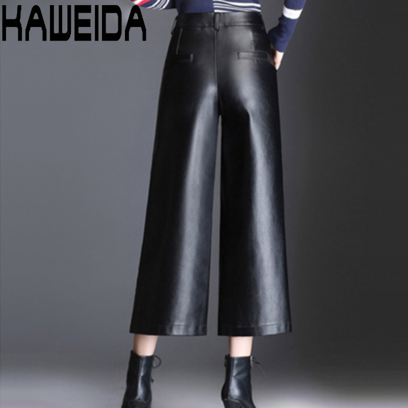 Plus Size 4XL High Waist PU Leather   Pants     Capri   Women 2019 Winter Autumn Loose Elastic Waist Wide Leg   Pants   Female Trousers