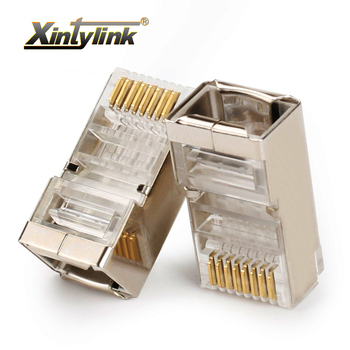 xintylink ethernet cable connector rj45 plug male network cat5e 8p8c 8pin rj 45 stp shielded terminals cat 5 cat5 50pcs 100pcs