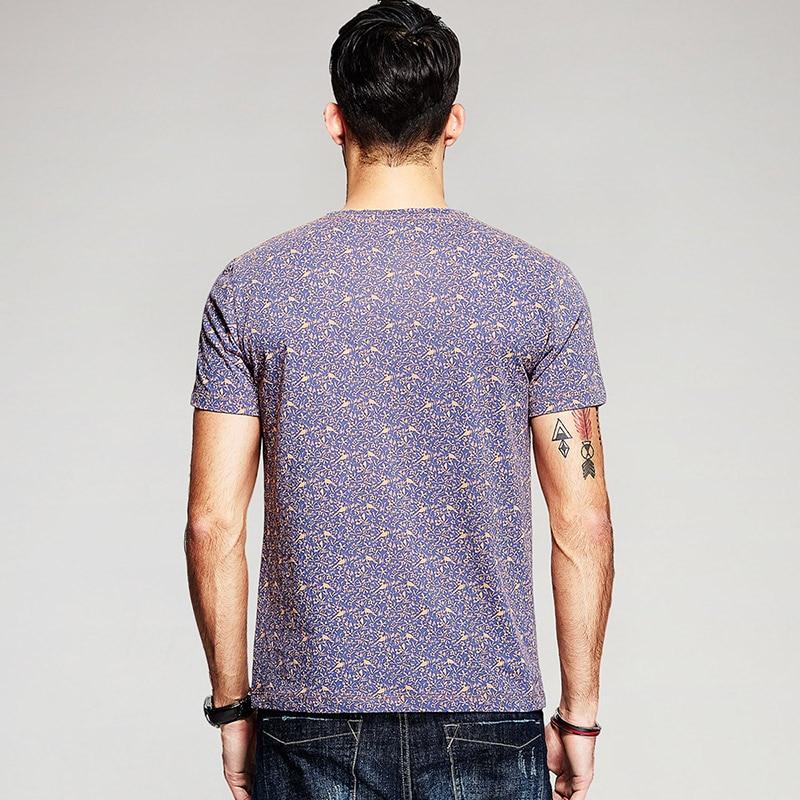 KUEGOU Sommarhatt 100% Bomull T-shirt Lila Blommfågel Tryck Märke - Herrkläder - Foto 3