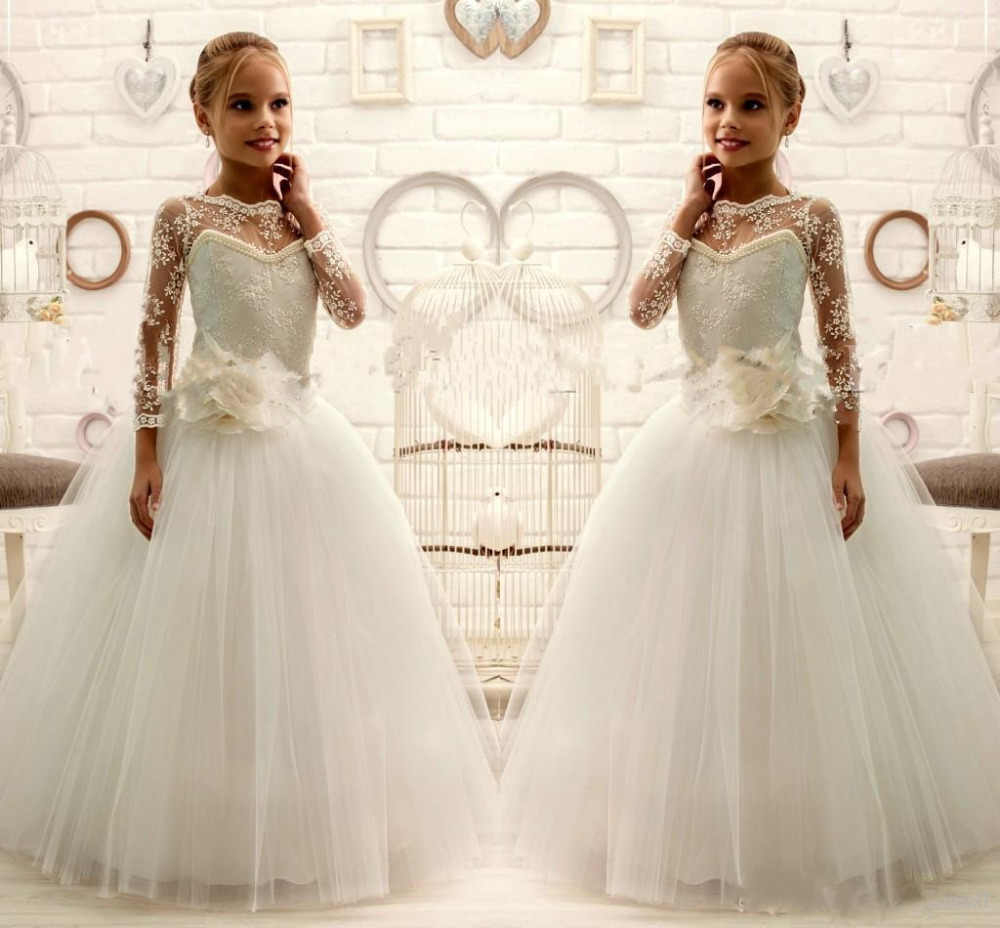 Detail Feedback Questions about Ivory White lace long sleeves Flower ... 158f904b4090